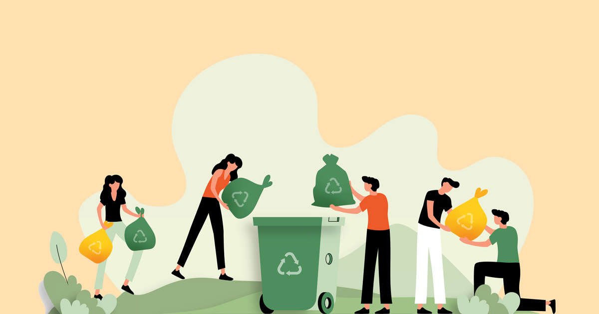 Animation of people recycling.