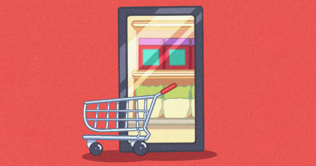 Graphic of storefront on an iPad and a shopping cart in front of it.