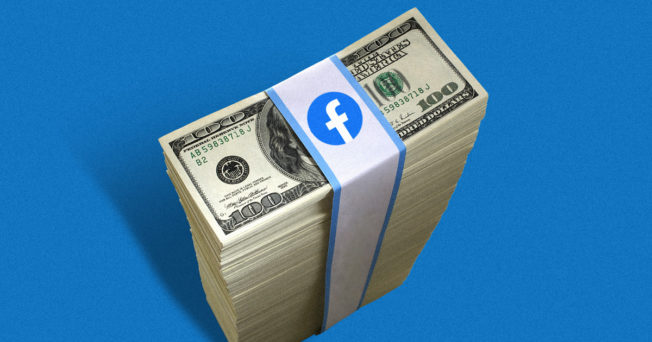 stack of money with a facebook logo strapped on top