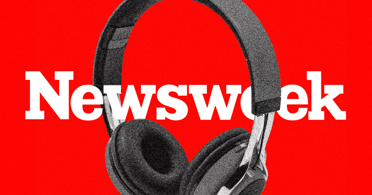Newsweek logo with a pair of headphones