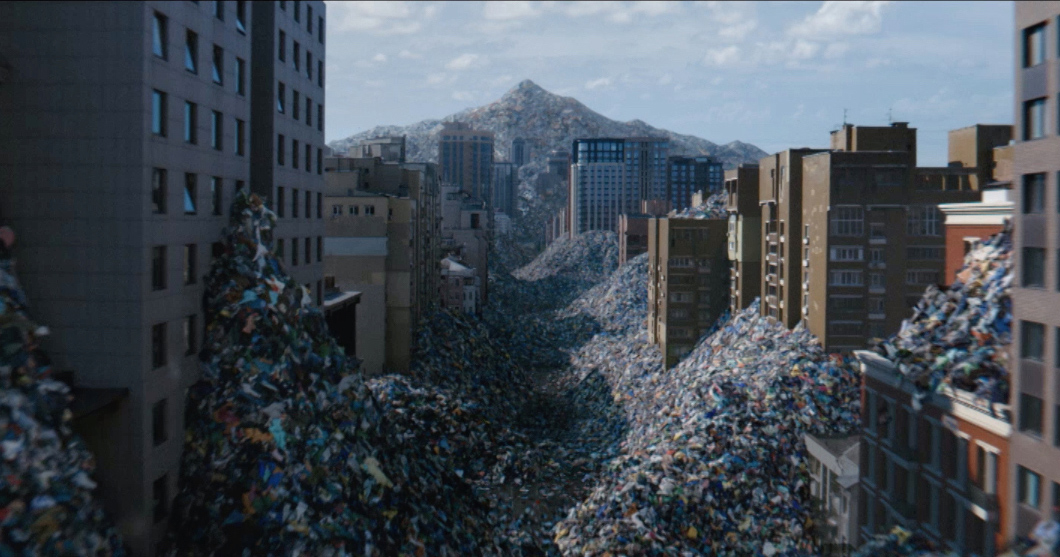 Vanish shows clothes waste engulfing a city