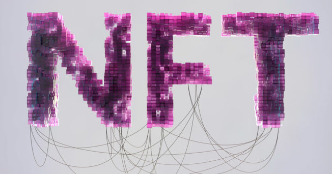 Graphic of the acronym NFT. Purple Text with wires behind it.