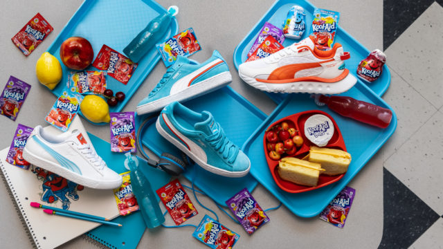 Shoes among a colorful school lunch