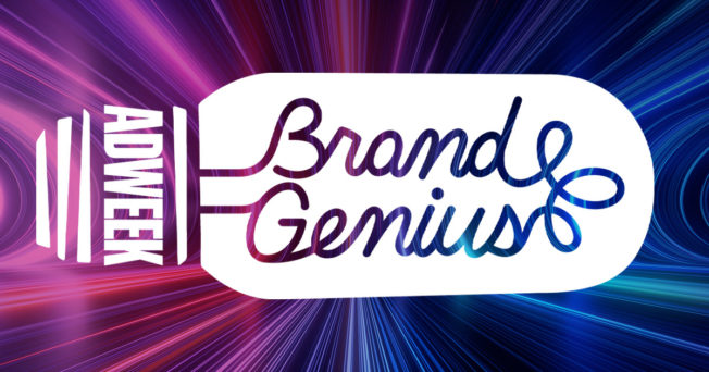 brand genius text in script in a lightbulb with adweek written in the base