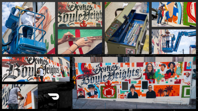 A collage of murals