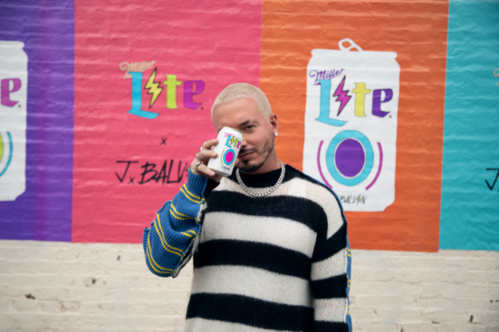 J Balvin holding a limited-edition Miller Lite can