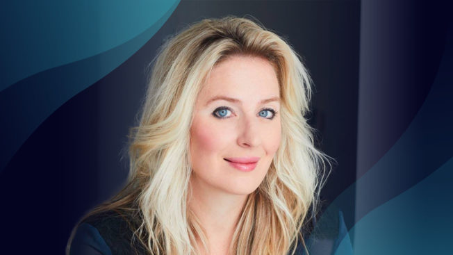 Melissa Hobley headshot with signature blue wave on top and bottom corners.