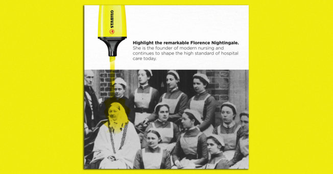 A black-and-white photograph of nurses, with Florence Nightingale highlighted in yellow