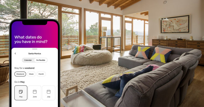 airbnb booking screen and a nice living room