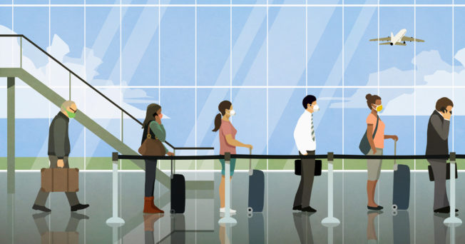 Animation of people waiting in line at the airport wearing face masks.