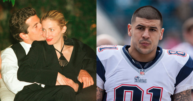 couple kissing on left and a football player on the right (aaron hernandez)