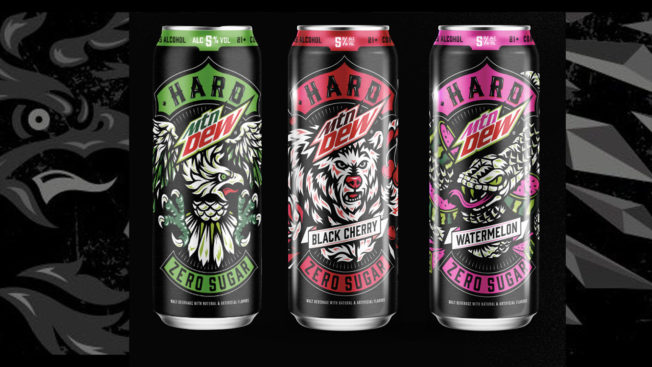 Three cans of Hard Mountain Dew are shown on a black background