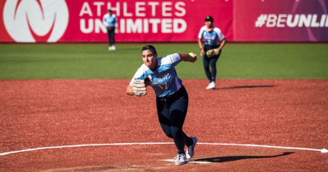 Softball pitcher Haylie Wagner prepares to throw a pitch during a game with Athletes Unlimited