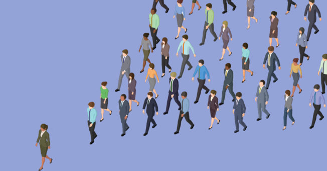 Graphic of someone leading a group of people.