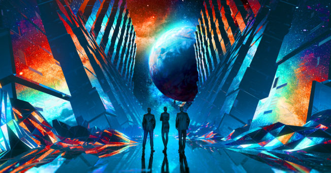 Three people in a science-fiction setting