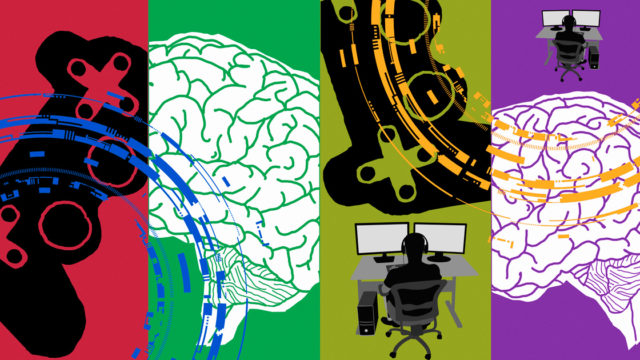 Collage of gaming graphics and images of brains.