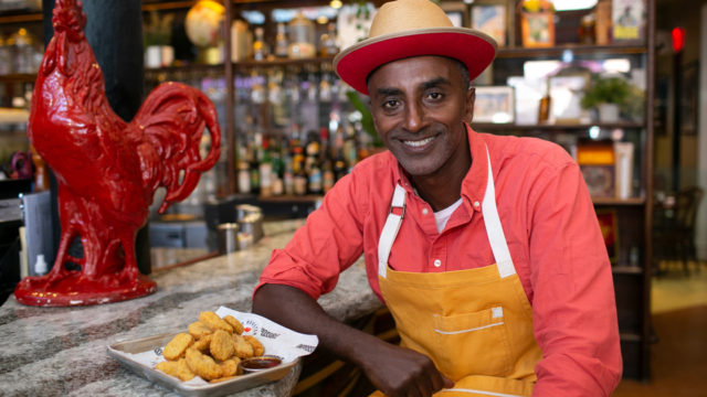 Marcus Samuelsson at his Red Rooster restaurant with Impossible Chicken Nuggets