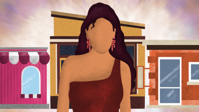 Illustration of woman standing in front of storefronts.