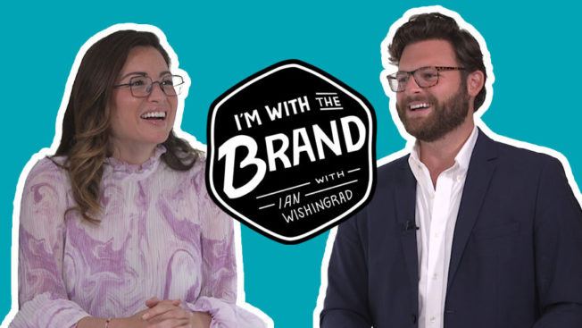 ian wishingard on right and kin euphorics founder Jen Batchelor on left with i'm with the brand logo in middle