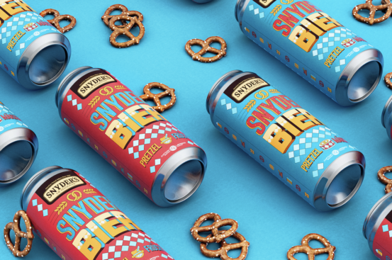 Cans of beer among pretzels