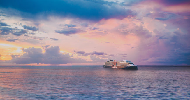 The Celebrity Beyond cruise liner floats in the Caribbean Sea.