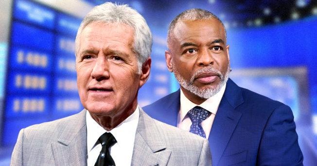 An image of Alex Trebek and LeVar Burton with Jeopardy set in the background.