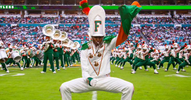 The Florida A&M marching band performs during a football halftime show