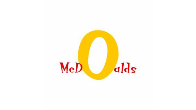 Logo refresh by Emily Zugay. McDonald's is in loopy red writing with an oversized O spelled McDoald's.