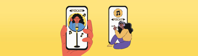 Podcast on a phone
