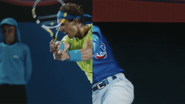 A tennis player and baseball player are joined by a split-screen image making them look like one person