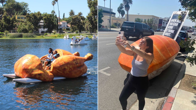 A paddle boat shaped like a chicken floats in a lake while in another photo a woman poses in front of a car-sized piece of sushi