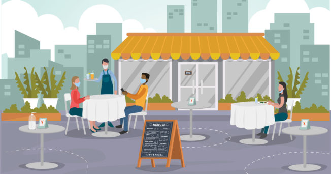 Graphic of outdoor seating and restaurant diners wearing face masks.