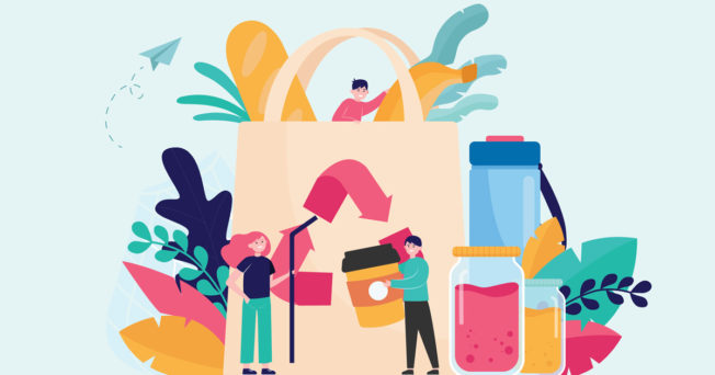 Illustration of consumers recycling and shopping sustainably.