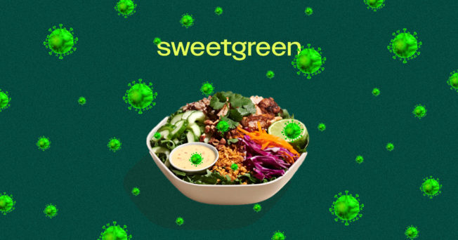 sweetgreen logo and a salad with covid particles floating around