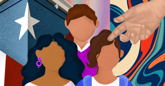 Collage of animations reflecting hispanic individuals, Puerto Rican flag, hands holding.