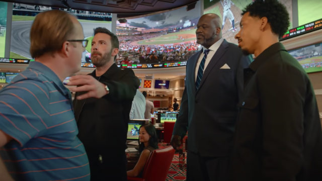 Ben Affleck, Melvin Gregg, and Shaquille O'Neal in a casino