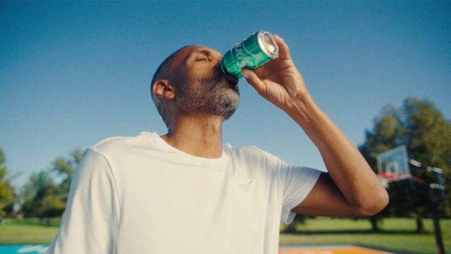 Grant Hill drinks a Sprite