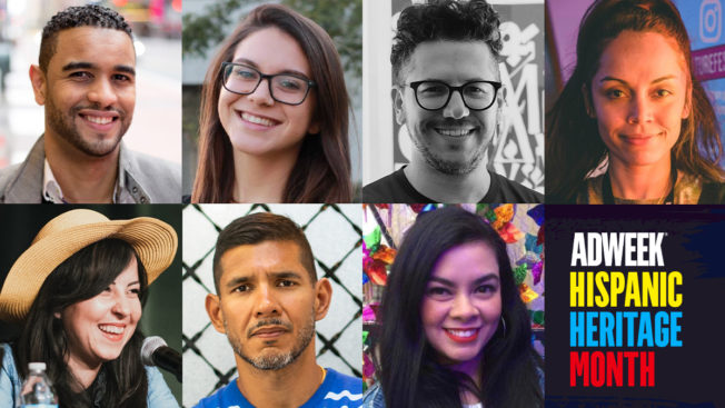 Compilation of headshots with colorful text that reads: Adweek Hispanic Heritage Month.