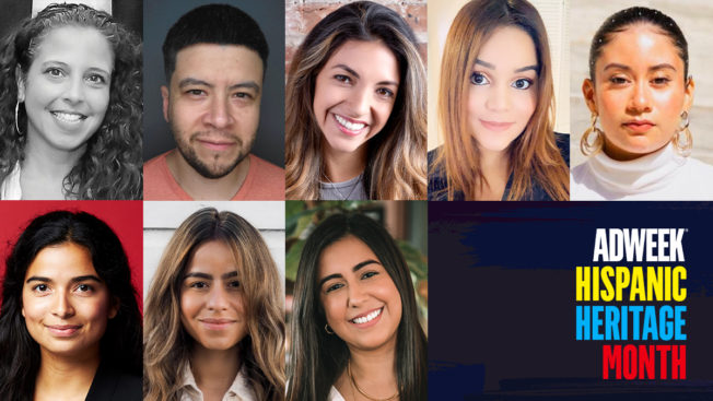 Compilation of headshots with text: Adweek Hispanic Heritage Month.