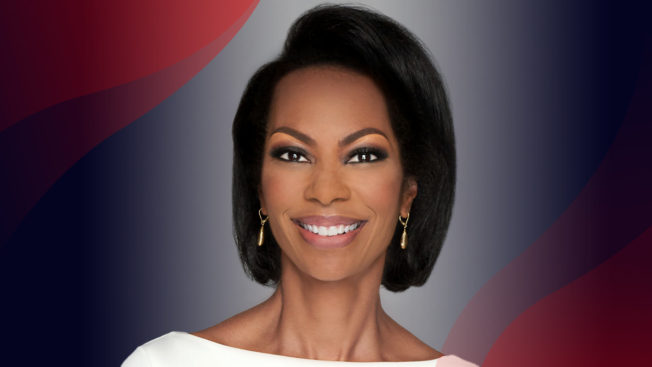 Harris Faulkner headshot with red waves on top and left corners.