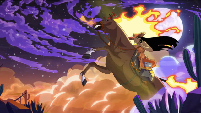 Animation of a woman riding a horse