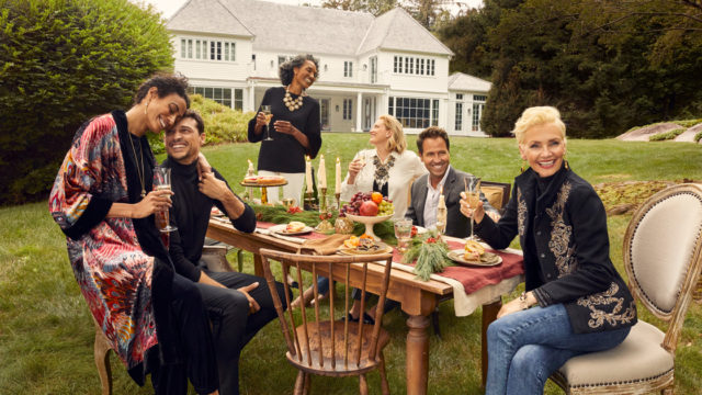 a fancy outdoor dinner party