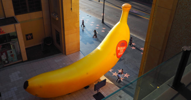 Dave & Buster's giant banana activation on Hollywood Boulevard