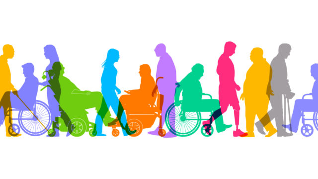 Colorful silhouettes of individuals in the disabled community.