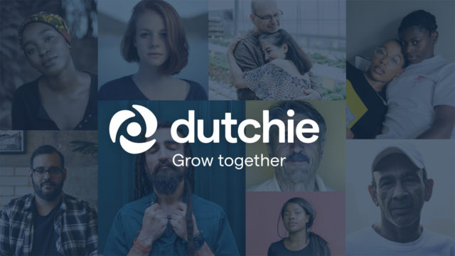 The Dutchie logo, three leaves spiraling around a circle, is shown in front of pictures of a variety of people