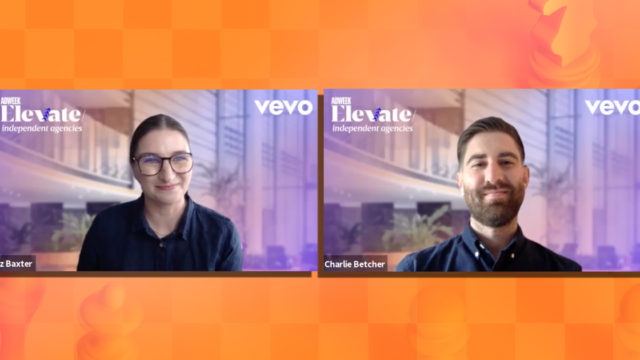 Vevo's Liz Baxter and Charlie Betcher talked about engaging audience during Adweek's Elevate: Independent Agencies