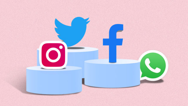 Graphic of social media icons standing on elevated platforms with Twitter standing above Facebook, Instagram, and Whatsapp.