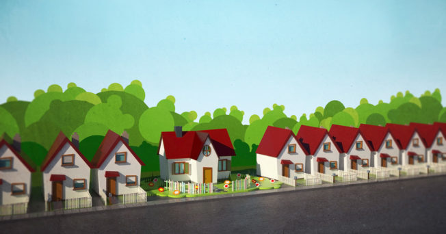 Graphic of a row of homes.
