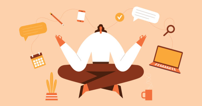 Graphic of a woman meditating with devices floating around her.