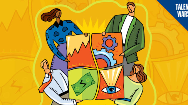 Illustration of 4 employees holding four puzzle pieces.